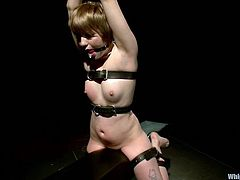 The blonde dominatrix Aiden Starr is playing with Alani Pi, tying her up, fucking her pussy with her strapon and more.
