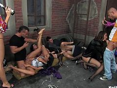 Wild and messy group sex orgy with appetizing hotties