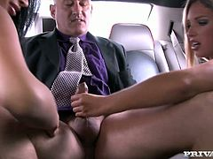 Being rich is so hot! You can have such sexy girls like Anissa Kate and Eva Parcker. These chicks gives this old man a hot double head in the limo!
