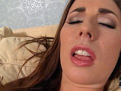 Long haired curvy brunette milf Paige Turnah with natural knockers and big juicy ass in colorful undies gets naked at the interview and polishes pink shaved cunny in close up