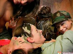 Seventeen Video sex clip provides you with awesome slender gals in military uniform. Pretty gals with nice rounded butts get rid of uniform and play with boobs passionately. Why not to switch to tickling each other's wet teen pussies for pleasure?