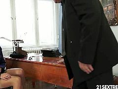 Older boss decided to have fun with his kinky secretary - Chary Kiss! He fucked her tight pussy and she fingered his ass, while giving him a nice blowjob and swallowing his cum!
