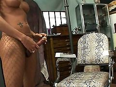 Exciting and so adorable Latina shemale is spending great time with her new boyfriend. They are sucking dicks of each other first of all and pal gets ass fucked hard then.