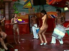 These party sluts are always horny! Once they see these capoeira practitioners, their juicy pussies get wet! The girls are horny as hell and ready to get their succulent pussies stuffed with meaty cocks. This wild group sex orgy will make you cum!