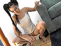 Sasha Grey drinks her own pee and you can see her gorgeous little feet and toes.