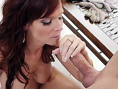 Hot sexy MILf gets her wet cunt fucked hard by the pool and later sucks on two big balls