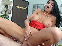 Tall handsome stud Danny D with long shaft gets seduced by tempting black haired milf with big fake tits and bouncing ass and fucks her hard on desk to loud orgasm