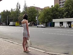 Naughty voyeur enjoys filming this babe's fine panties during public upskirt session