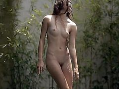 So young and so fresh curly brunette Vanessa is excitingly sliding her clothes off from gorgeous gentle body and posing nude.