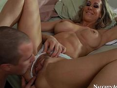 Brandi Love blows him in tight sexy jeans
