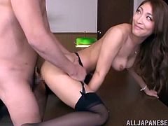 This ambitious Japanese woman is ready to do anything to get promoted. So, she has sex with her boss. She sucks his dick and then gets her hot pussy fucked.