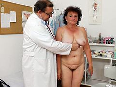 Big fat woman Marsa is old granny with big saggy natural boobs. She is getting her body measured by kinky Doctor. Then brunette fat granny lies on a couch getting her beef curtains stretched wide with fingers. Filthy Old Pussy Exam porn clip presented on Anysex for those who are into wicked fetish porn scenes.