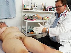 Fal old granny Marsa is examined in medical office by perverted doctor