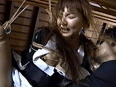 Sexy japanese babe gets tied up and pounded in dirty and wild BDSM hardcore