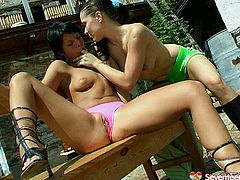 Naughty chick gets too hot outdoor at perfect summer day. So she takes off her top flashing appetizing bit natural tits. Her horny lover suckles firm nipples hard. Then she stuffs wet cunt with long sex toy.