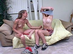See a provocative blonde granny showing a cute brunette teen how to have some lesbian fun.