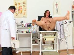 Lustful brunette bitch with rounded curvy body, huge jugs and juicy pussy lips is lying naked on a couch at Doc's office. Perverted dude is examining deep cave of horny mommy opening pussy folds wide. Filthy porn clip presented specially for those who are into BBW curvaceous moms.