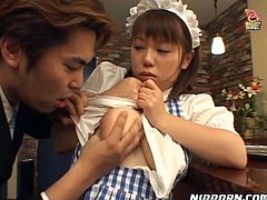 Two sex greedy dudes pick up a curvy Japanese waitress in restaurant. They unbutton her shirt in order to maul oversized milky tits before she bends over a bar counter to get banged from behind.