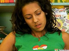 Playful Indian amateur with slender stature sits on the chair in her bedroom with a ruffled dildo in her hand. Later she takes off her panties to drill hard her soaking shaved cunt in peppering solo sex video by Seventeen Video.