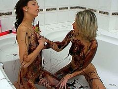 Well, if you wanna jizz at once, you're more than welcome to get your dose of delight along with Seventeen Video sex clip. Zealous busty brunette and blondie get rid of tops. They're in the bath and cover naked bodies with melt chocolate. It's time to rub pussies and lick off tasty chocolate off their nice boobs.