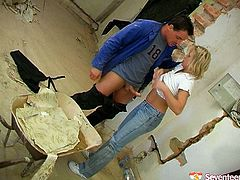 Lustful blonde mom calls on repair man to fix washing machine. She seduces him flashing her appetizing titties. Perverted worker thrusts his dick in hungry for cock mouth of horny mommy. He brutally mouth fucks her.