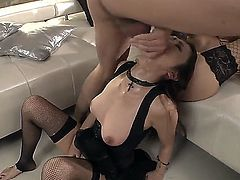 Horney sexy babes Leyla and Marica share a huge big cock in a hot threesome action.