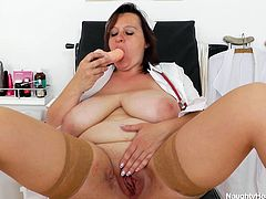 Disgustingly fat Russian granny with huge jugs Olena pokes her cunt with dildo