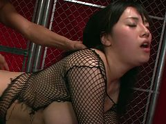 Mind taking Japanese babe in fishnet tank and black stockings gets her tits oral stroked and bearded vagina tongue fucked before she goes down to strain dick to suck it with pleasure.