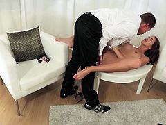 Horny babe Silvie is totally naked ans this bitch is making naughty moves to excite him. She gradually spreads her juicy thighs in front of him and letting him suck her shaved pussy. Then she grabs that guys dick in her hand and with some small rub she takes it in her pretty mouth every now and then.