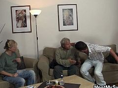 Naughty gf plays with her bf's parents