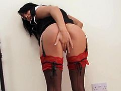 Chloe Lovette is horny as fuck and decides to show you how she gives herself ultimate pleasure! Watch her rubbing her tight hole in red fishnets!