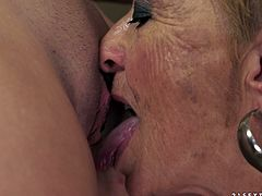 Granny is having some lesbian fun with her daughter's best friend and she got a damn sweet pussy to give this mature lady. Granny loves licking!