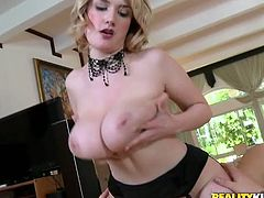Are you seeking for delight? Then this Reality Kings sex clip is surely for you. Appetizing blondie in black stockings will mesmerize you with her huge droopy boobs. Spoiled nympho is fond of giving a blowjob and handjob for cum. But the true delight for dirty busty harlot is surely riding a stiff dick for orgasm.