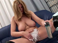 Big breasted blonde temptress gets ready for a good hard fuck. She shaves her pussy clean and it looks much better now. Damn, that pussy is so fucking juicy!