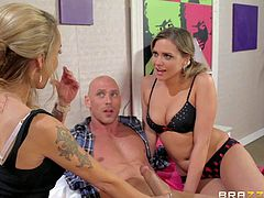 Smoking hot busty blonde and brunette girl Devon and Mia Malkova in sexy red high heels and lingerie gives amazing blowjob to Johnny Sins and ride on his long stiff shaft