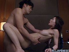 Slutty Japanese chick Kaho Kasumi seduces some guy and plays dirty games with him. They fondle each other and then bang in missionary and many other positions.
