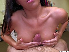Stephani Moretti is a beautiful naked brunette with well shaped perky boobs and tight shaved pussy. She gives unthinkable cock massage from your point of view. Watch hot bodied brunette give tugjob.