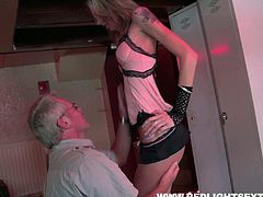 Tall and leggy blonde gives hot blowjob to old man