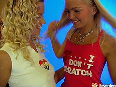 Zealous smiling blond teen in pink top and short skirt thirsts to be a famous harlot. So wondrous gal poses on cam and then the other blond hot teen joins her for casual lesbian sex on cam.