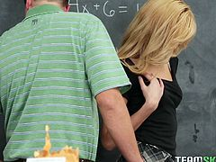 Blonde Emily has a crush on her math teacher. She not very good at math but this baby knows how to suck a man's hard cock. She makes him horny and the guys has a peak of what's underneath her skirt before she kneels and gives him something that surely deserves an A. Yeah, she's great at giving head!
