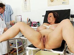 Filthy aunty Olena has got curvy fat body with huge natural jugs and juicy pussy. She gets her womp pumped with pussy pumping tool sitting on a stool with her legs wide open. Later in kinky XXX fetish porn video, Russian BBW mom Olena is pissing filling the bowl with warm urine.