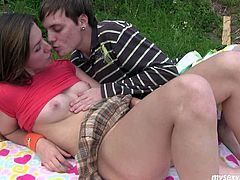 Cute teen chica named Bella is frisky seductress. She teases her bf by flashing her fresh tits in front of his face. He caresses her boobs with tongue. Then she gets her pussy licked actively. The couple is having hot foreplay in the park outdoor.