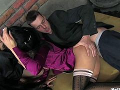 These stunning hotties with yummy tits are quite far from being shy. In this back alley orgy scene, the girls get their hot snatches fucked hard in various positions.