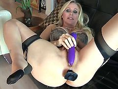 Dana Vespoli and Julia Ann are playing a hard game with toys and they get their holes drilled