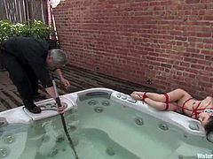 Slim brunette chick with pigtails gets tied up by her master in a backyard. After that she gets her vagina toyed with big dildo and a vibrator.