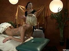 After an Asian massage, Maia Davis is going to get the happy ending from Venus Lux, which is actually a hardcore fuck as the masseuse is a shemale.