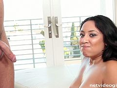 Calendar audition turns into a nonstop hot sex. Sexy and beautiful Latina brunette gets rid of black hot dress. She bends over to be fucked doggy right on the floor. Just look the way her boobs bounce and you'll jizz at once. Amazing nympho doesn't let the dude go till she sucks his delicious lollicock for sperm.