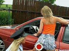 It's a perfect sex tube video featuring passionate and lustful lesbians. One police girl punishes hussy blonde teen and makes her polish pussy outdoor.
