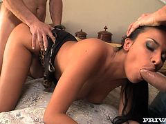 See the amazing amount of fun Anissa Kate is having in this threesome as she gets all her holes stuffed with dick!