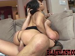 This ebony babe jumps on this guy's stiff cock with her ass hole. She uses her mouth to make him cum.